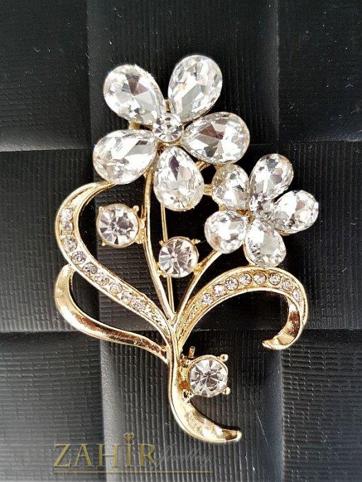 Дамски бижута -  Брошка с бели кристални цветя - 5,5 см, кристали и златно покритие, широка 4 см - B1051
