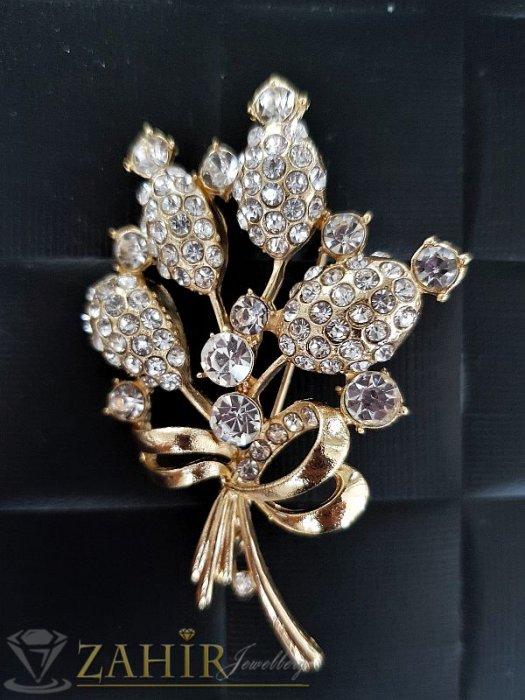 Дамски бижута - Елегантна брошка- 6 см с букет кристални цветя златно покритие, широка 4 см - B1077