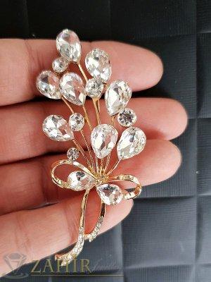 Официална брошка кристален букет с блетящи циркони и златно покритие, размери 7 см на 3 см- B1083