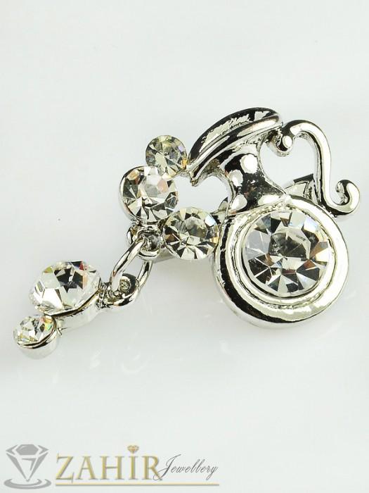 Малка брошка - 3 см с бели кристали и платинено покритие - B1056