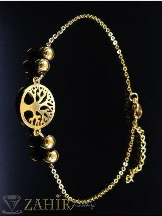 Дамски бижута - ХИТ - много нежна стоманена гривна за ръка или крак със символ Дървото на живота на класическа верижка, регулираща се дължина - G1866