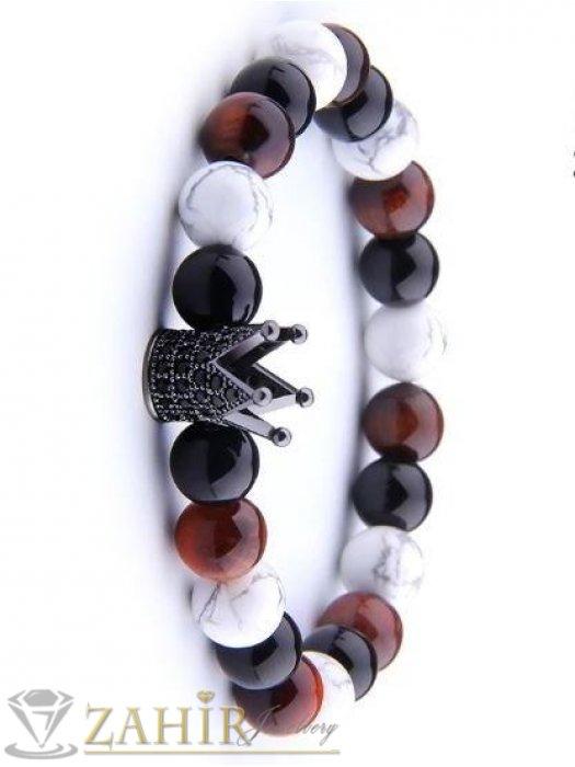 Дамски бижута - 4 цвята корони на гривна от бял хаулит, тигрово око и черен лъскав ахат, 7 размера - GA1005