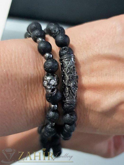 Двойна гривна от ест. лава камъни с елементи с микрокристали, 7 размера - GA1023
