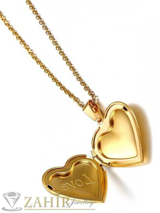 Дамски бижута - Kолие за спомен 50 см с отваряща се висулка за снимки -3 см ,стомана със златно покритие - K1558