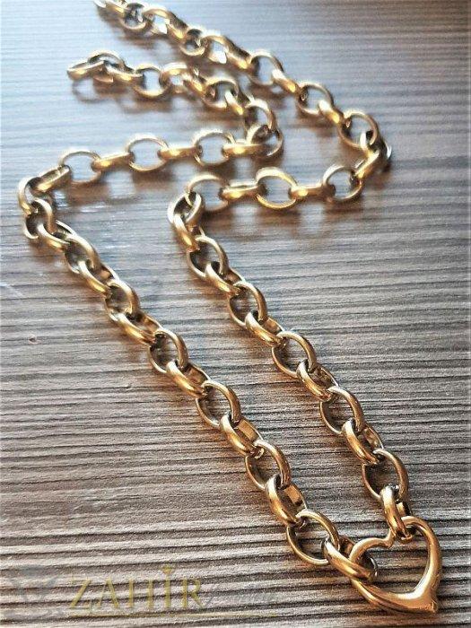 Дамски бижута - Нежно стоманено сърце 1,8 см на стилен дамски ланец в 3 размера, позлатена стомана- K1576