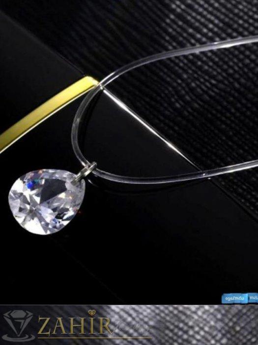 Дамски бижута - Елегантнo колие с голяма кристална капка 1 см на невидима корда, регулира се до 33 см - K1736