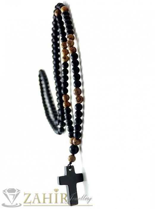 Бижута за мъже - Ествествени камъни оникс и дървесен яспис на колие 70 см с висулка кръст от черен оникс 2,5 см, топче 0,8 см - MK1222