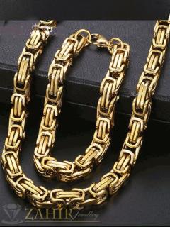 Масивен стоманен комплект ланец 60 см и гривна в 4 размера, златно покритие, ширина 0,8 см - MKO1020