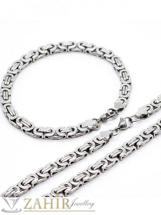 Бижута за мъже - Вечен мъжки стоманен комплект, ланец в 2 и гривна в 4 размера, широки 0,6 см, римска плетка- ML1038