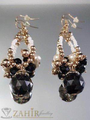 Черно-бели перлени кристални обеци 7 см, златно покритие, на кукичка - O1153
