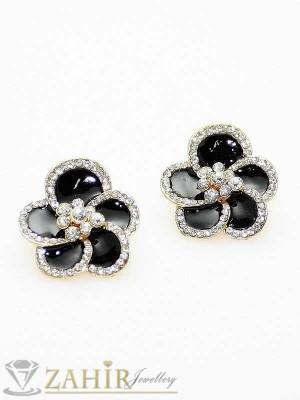 Обеци черно цвете с цирконии - O1206