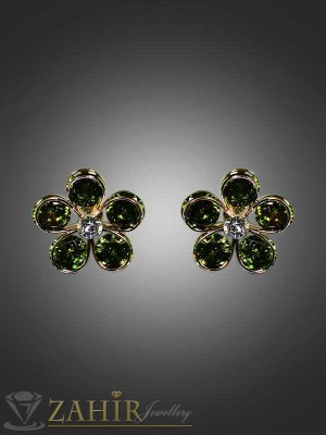 Обеца-цвете 2см с 5 масленозелени циркони - O1459