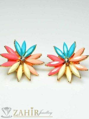 Многоцветни обеци цветя златно покритие - 3 см - O1597
