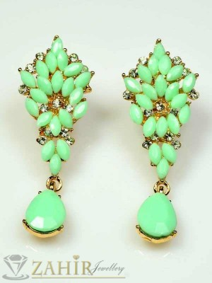 Стилни висящи обеци нежнозелени с кристали-5,5 см - O1613