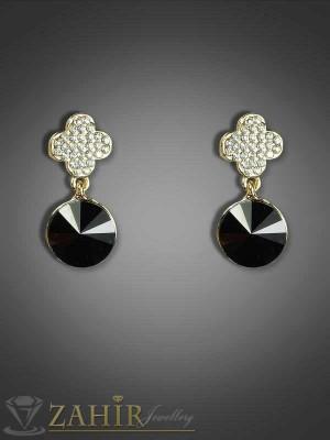 Нежни обеци с черен кристал и циркони- 2 см - O1640
