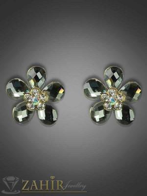 Обеци романтично цвете с графитени кристали и златно покритие-2 см - O1698