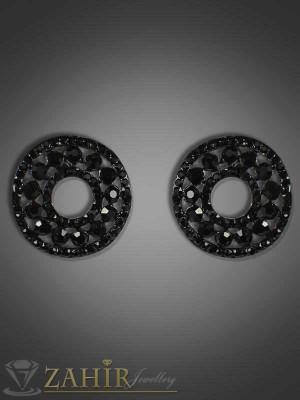 Класически обеци с черни кристали - 2 см - O1703
