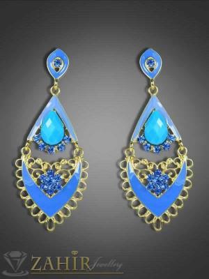 Сини висящи обеци с кристали и златно покритие - 6,5 см - O1743