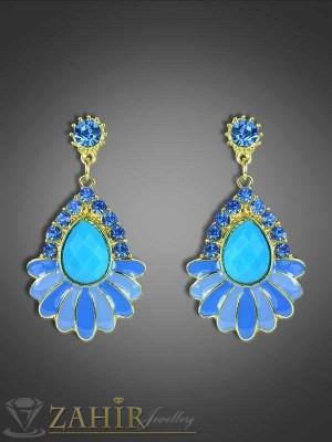 Сини висящи обеци с кристали и златно покритие - 5 см - O1745