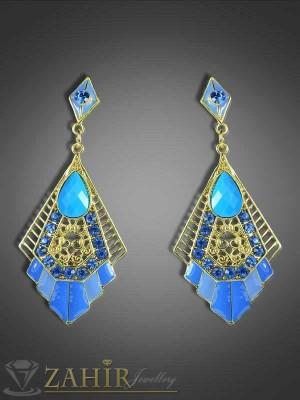 Сини висящи обеци с кристали и златно покритие - 7 см - O1752