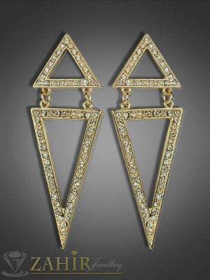 Обеци ромбоиди с нежни циркони и златно покритие - 7 см - O1756