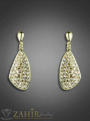 Висящи обеци - 4 см с красиви циркони и златно покритие, закопчаване на винт - O1789