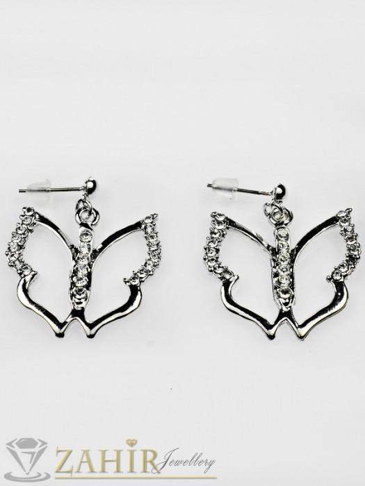 Елегантни висящи 3,3 см обеци пеперуди с циркони и платинено покритие, на винт - O1913