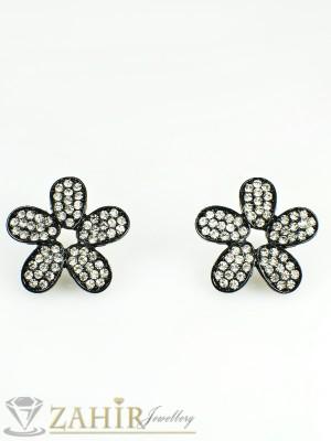 Романтични черни цветя - обеци 2,5 см с бели кристали, закопчаване на винт - O1945