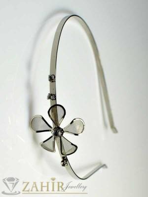 Метална диадема цвете - D1016