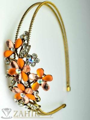 Луксозна метална диадема с оранжеви и бели кристали - D1105