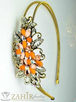 Луксозна метална диадема с оранжеви и бели кристали - D1113