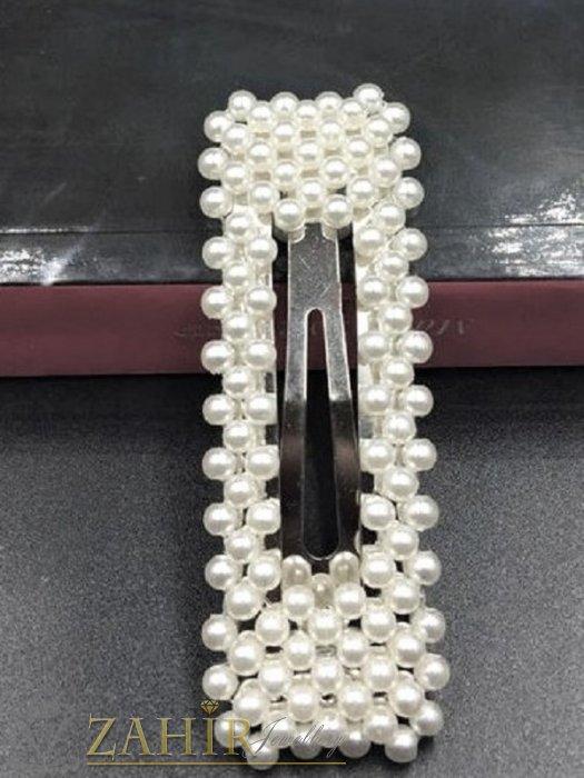 Хит луксозна шнола с нежни перли, дълга 8 см,тик-так закопчаване, сребриста основа- FI1076