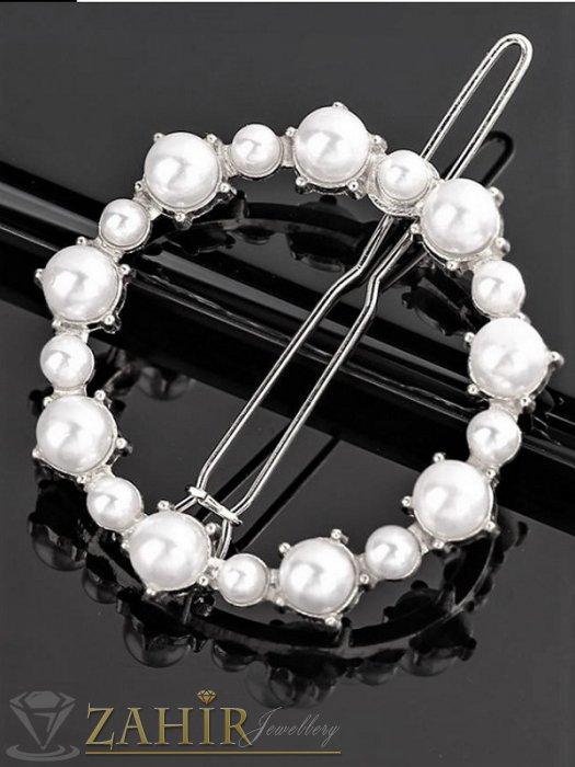 Аксесоари за коса - Луксозна метална шнола с нежен перлен кръг 4 см, сребриста, високо качество - FI1005