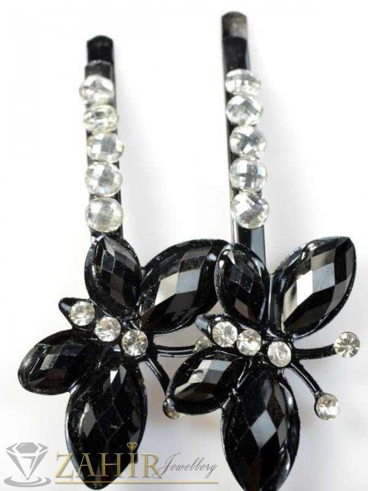 2 бр. черни метални фиби 6 см с пеперуди с черни кристали и малки бели кристали - FI1013