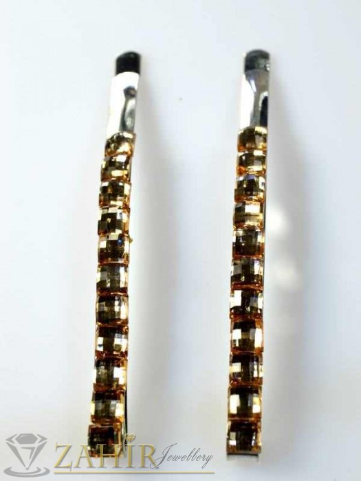 Два броя метални фиби с цветни кристали - FI1103