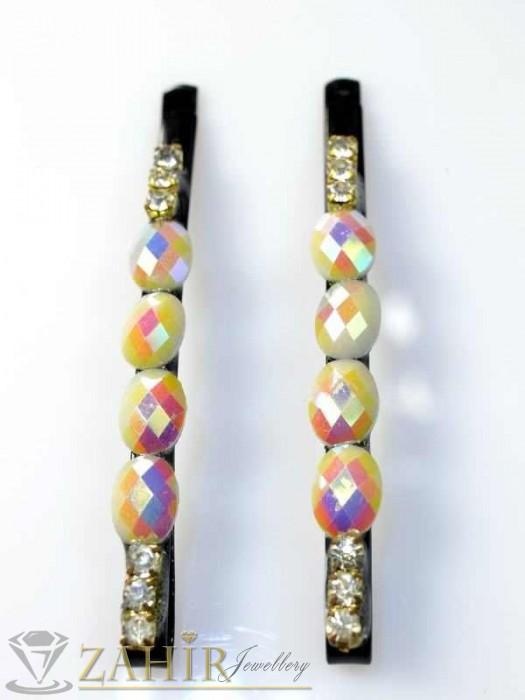 Аксесоари за коса - Два броя метални фиби с цветни кристали - FI1105