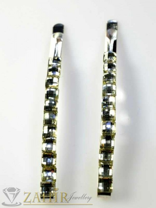 Аксесоари за коса - Два броя метални фиби с цветни кристали - FI1112