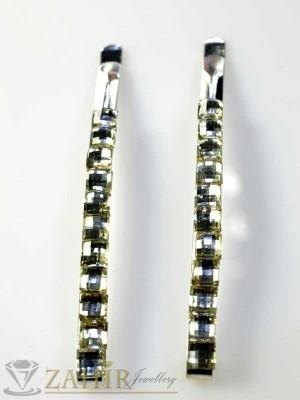 Два броя метални фиби с цветни кристали - FI1112