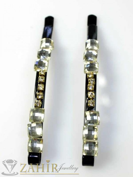 Два броя метални фиби с цветни кристали - FI1118