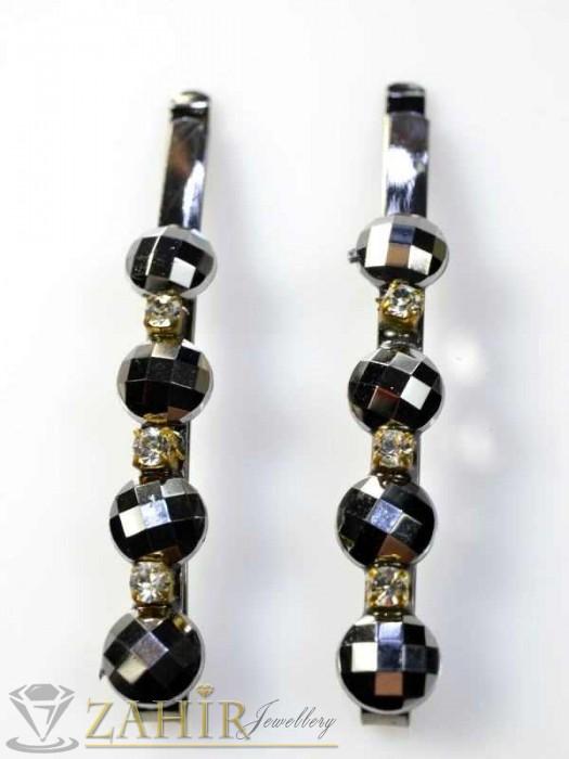 Аксесоари за коса - Два броя метални фиби с цветни кристали - FI1130