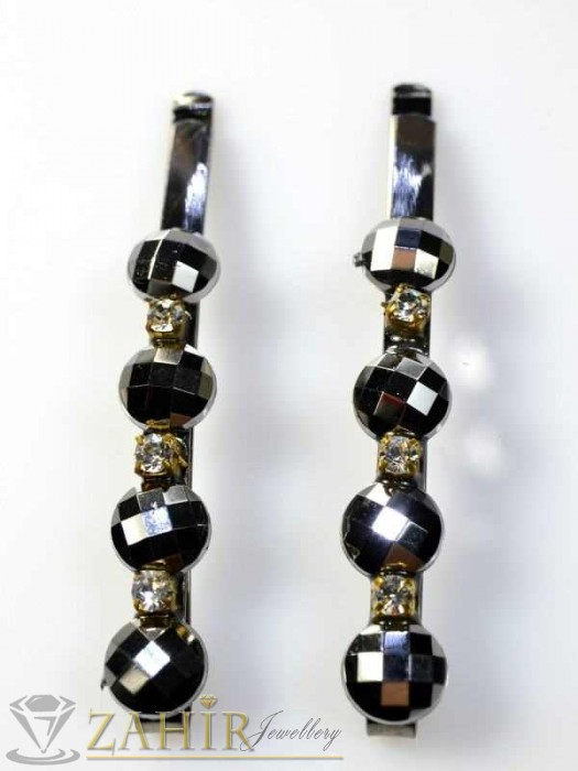 Два броя метални фиби с цветни кристали - FI1130
