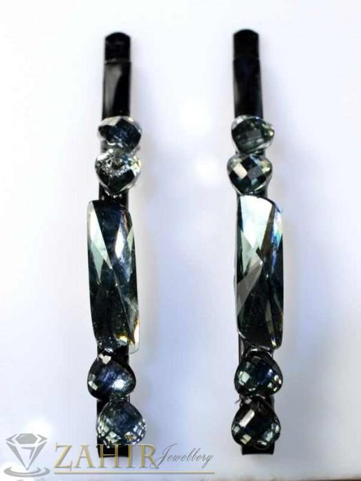 Аксесоари за коса - Два броя метални фиби с цветни кристали - FI1142