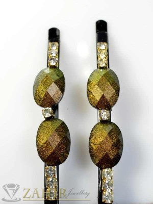 Два броя метални фиби с цветни кристали - FI1143