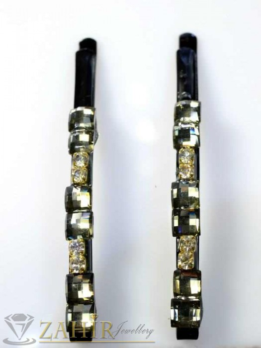 Два броя метални фиби с цветни кристали - FI1149