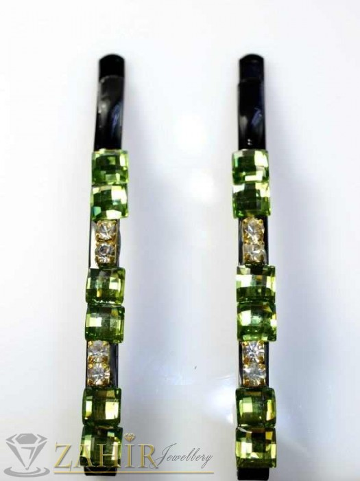 Аксесоари за коса - Два броя метални фиби с цветни кристали - FI1150