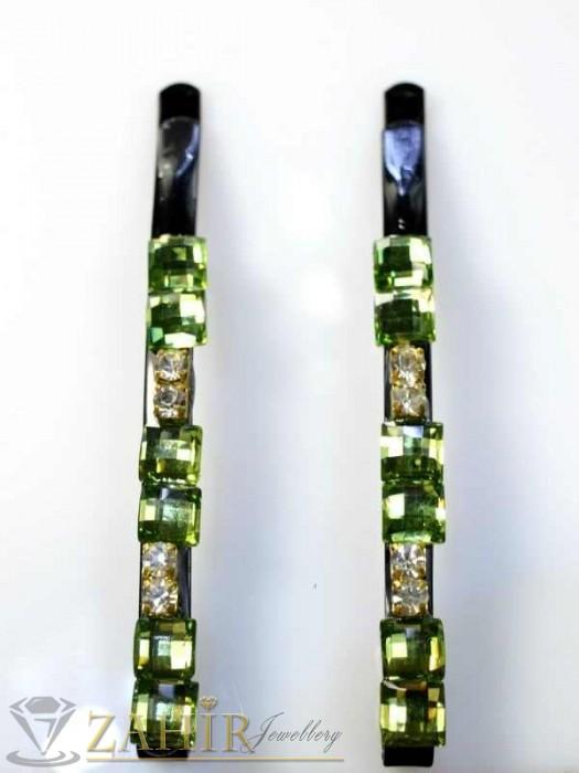 Два броя метални фиби с цветни кристали - FI1150