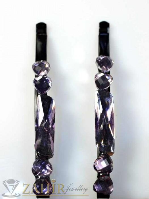 Аксесоари за коса - Два броя метални фиби с цветни кристали - FI1153