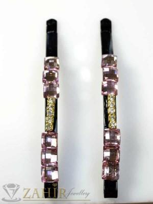 Два броя метални фиби с цветни кристали - FI1155