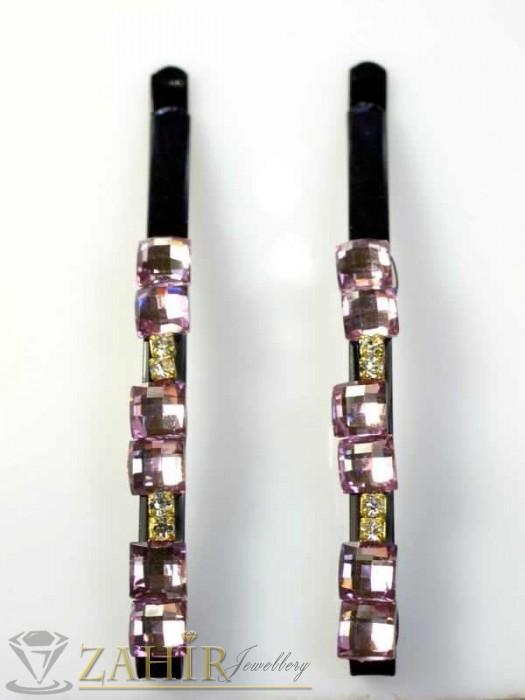 Аксесоари за коса - Два броя метални фиби с цветни кристали - FI1158