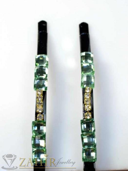 Аксесоари за коса - Два броя метални фиби с цветни кристали - FI1160
